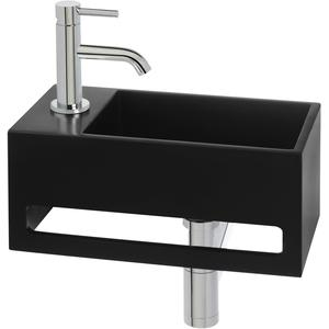Saqu Tendenza Fonteinset Solid Surface links mat zwart/chroom