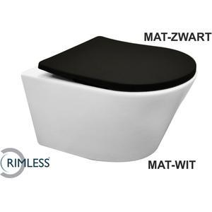 Saqu Wandcloset Rimless incl. Closetzitting Soft Close Mat Wit/Zwart