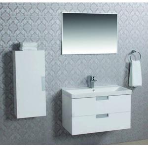 Saqu Scala badmeubelset incl. wastafel, spiegel, onderkast 80 cm + zijkast Glossy white