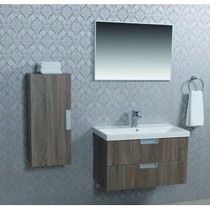 Saqu Scala badmeubelset incl wastafel, spiegel, onderkast 80 cm + zijkast English oak