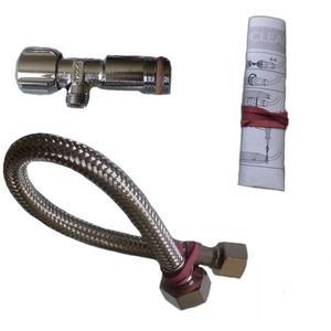 Villeroy & Boch Viclean wateraansluitset met hoekstopkraan 1/2 inch x3/8 inch 30cm. Chroom