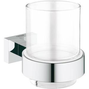Grohe Essentials Cube glashouder met glas Chroom