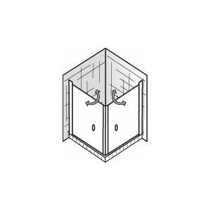 HSK Exklusiv Douchecabine Hoekinstap 2-delig met pendeldeur 80x80x200cm Chroom/Grijs glas