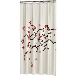 Sealskin Douchegordijn Textiel Blossom 200 x 180cm Rood