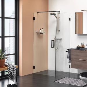 Get Wet by Sealskin I am Draaideur voor zijwand 100x200cm Mat zwart/Helder glas