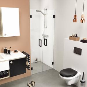 Get Wet by Sealskin I am Pendeldeur voor nis 90x200cm Mat zwart/Helder glas