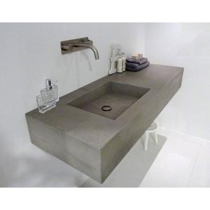 Ben Titan wastafelblad beton met 1 bak rechts 140x51,5x20cm grijs