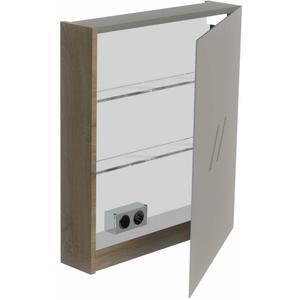 Thebalux Basic Spiegelkast linksdraaiend 70x60x13,5 cm Wit Glans