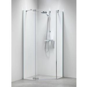 Get Wet by Sealskin Custom Douchecabine Vijfhoek met draaideur 100x195cm Zilver hoogglans/Helder glas
