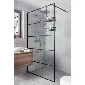 Saqu Miralo Inloopdouche met industrieel zwart frame 120x210 cm Helder Glas/Mat Zwart