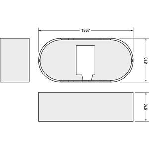 Technische tekening, Duravit Starck Starck Baddrager Ovaal 190X90 cm, 790415000000000