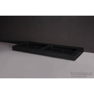 Forzalaqua Palermo wastafel dubbel 140,5x51,5x9cm 2 kraangaten Graniet Gezoet
