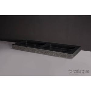 Forzalaqua Palermo wastafel Dubbel 140,5x51,5x9cm zonder kraangat Graniet Gezoet Gebrand
