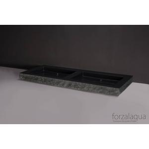 Forzalaqua Palermo wastafel dubbel 140,5x51,5x9cm 2 kraangaten Graniet Gezoet Gekapt