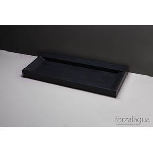 Forzalaqua Bellaza wastafel 120,5x51,5x9cm 2 kraangaten Graniet Gezoet