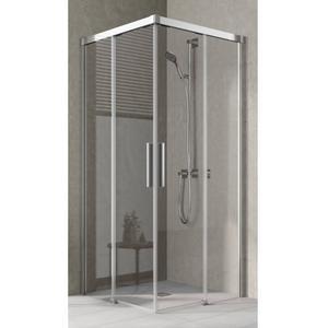 Kermi Nica Hoekinstap Helft Links 90x200 cm Zilver Glans/Helder Glas