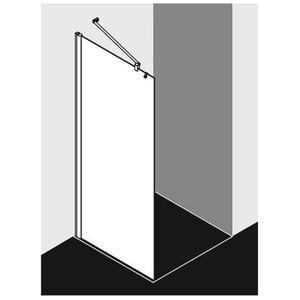 Kermi Pega Douchewand 110x200 cm Zilver Glans/Helder Glas