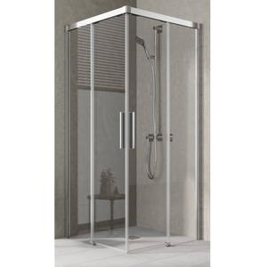 Kermi Nica hoekinstap helft rechts 80x200 cm Helder Glas/Zilver Glans