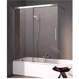Kermi Nica schuifdeur voor bad links 100x150 cm Helder Glas/Zilver Glans
