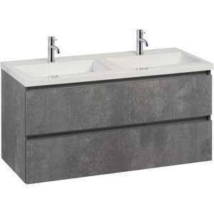 Saqu Gaia badmeubelset dubbele wastafel 120x50,5x60 cm beton grijs