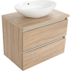 Saqu Gaia meubelset 2 lades voor waskom greeploos 80cm Bardolino Eiken
