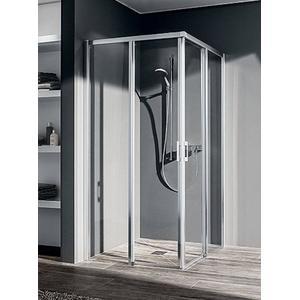 Kermi Liga Douchecabine Hoekinstap helft met schuifdeur rechts 103x200cm Zilver hoogglans/Helder glas