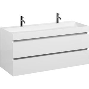 Ben Limara wastafelmeubelset 140cm wastafel enkel glans wit/aluminium