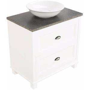 Ben Maison meubelset 80cm 2 lades mat wit Graniet blad met opbouwkom