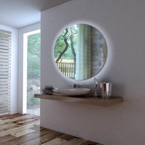 Ben Mirano ronde spiegel incl. LED-verlichting Ø 100cm wit houten frame