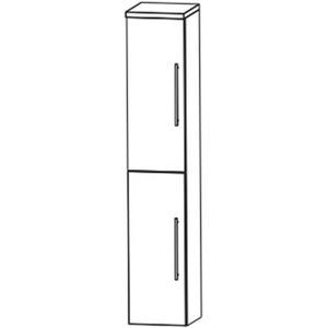 Saqu Pekka Hoge kast 2 deuren rechts 30x32x161,6 cm Hoogglans wit/ hoogglans wit