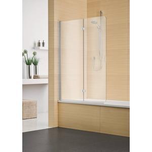 Sealskin Duka Multi vouw-pendel badwand 2-dlg R.vast 140(B)x150(H) cm zilver hoogglans helder glas + procare