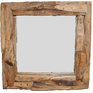 Teak & Living spiegel sprokkel vierkant 40 cm