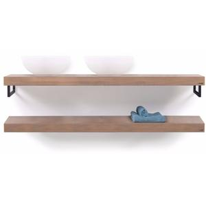 Looox Wooden Collection duo wooden base shelf handdoekhouders zwart eiken/mat zwart