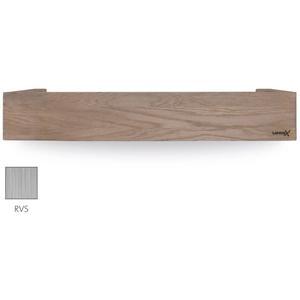 Looox Wooden Collection shelf box met bodemplaat rvs geborsteld eiken/geborsteld rvs