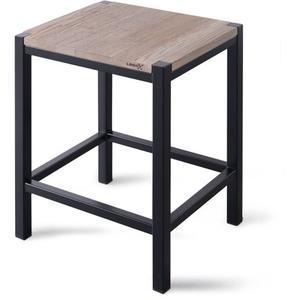 Looox Wooden Collection douche stool met frame mat zwart/eiken-mat