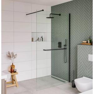 Saqu miralo Glaswand voor handdoekhouder en montageset 100x210 cm Helder Glas