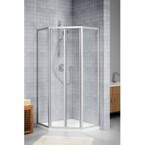 Sealskin Duka 1100 5-hoek 100x100(B)x190(H)cm (deurmaat 63.6, met pendeldeur) mat zilver helder glas