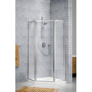 Sealskin Duka 1100 5-hoek 90x90(B)x190(H) cm (deurmaat 63.6, met swingdeur) zilver hoogglans helder glas