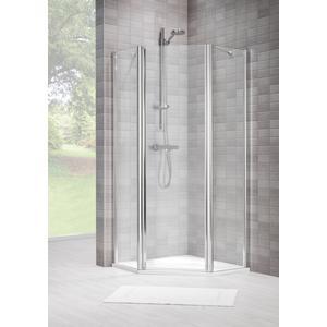 Sealskin Duka 1400 5-hoek L.draaiend 90x90(B)x195(H) cm (deurmaat 71) zilver hoogglans helder glas + procare