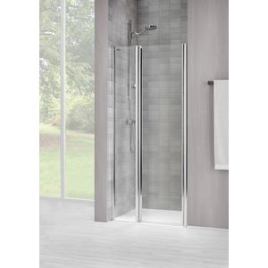 Sealskin Duka 1400 swingdeur L.draaiend 120(B)x195(H) cm (met vaste wand, tussen 2 muren) zilver hoogglans helder glas + procare