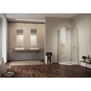Sealskin Duka 1700 5-hoek L.draaiend 100x100(B)x195(H) cm (deurmaat 63,6) chroom/zilver hoogglans helder glas