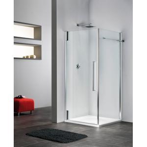 Sealskin Duka 2100 swingdeur R. 90(B)x195(H) cm (voor comb. met zijwand, gemonteerd op een vloer - glas midden) mat zilver helder glas 8mm