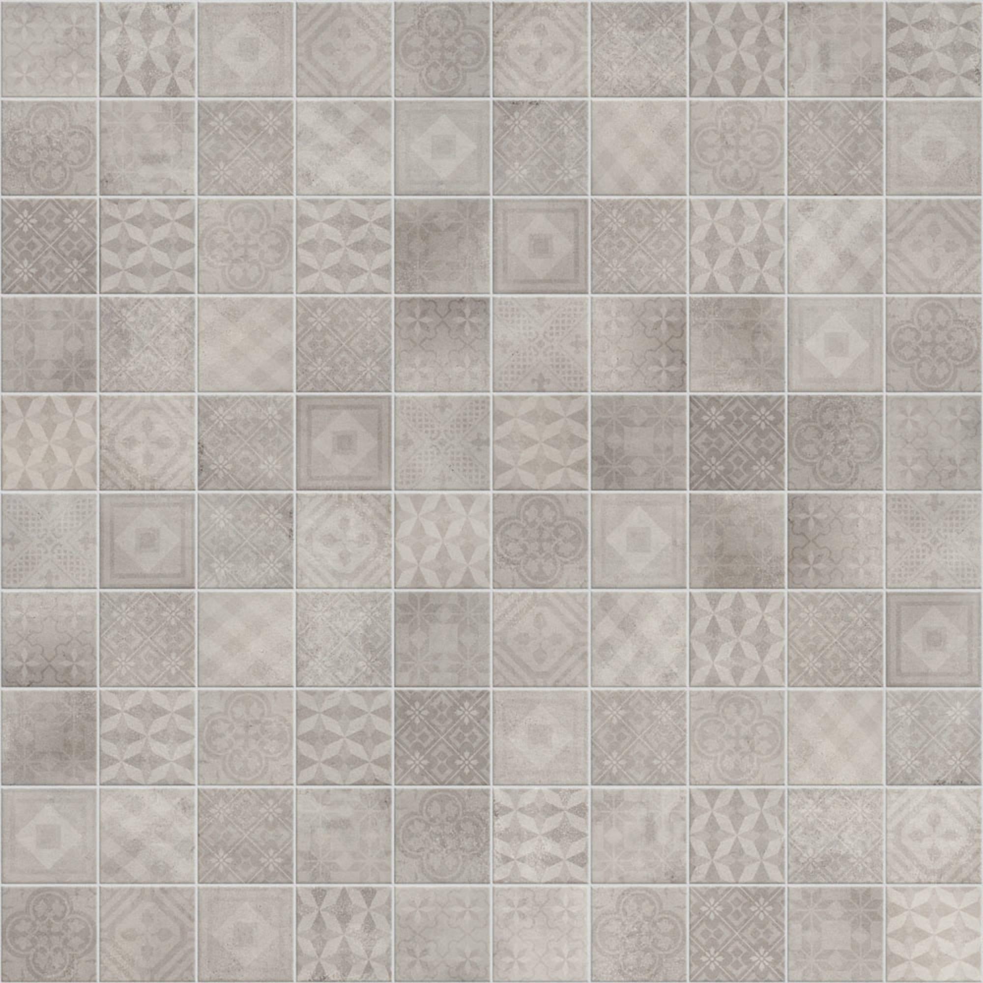Vloertegel Terratinta Betonsquare 10x10 cm white grey decor mix 0,88 M2