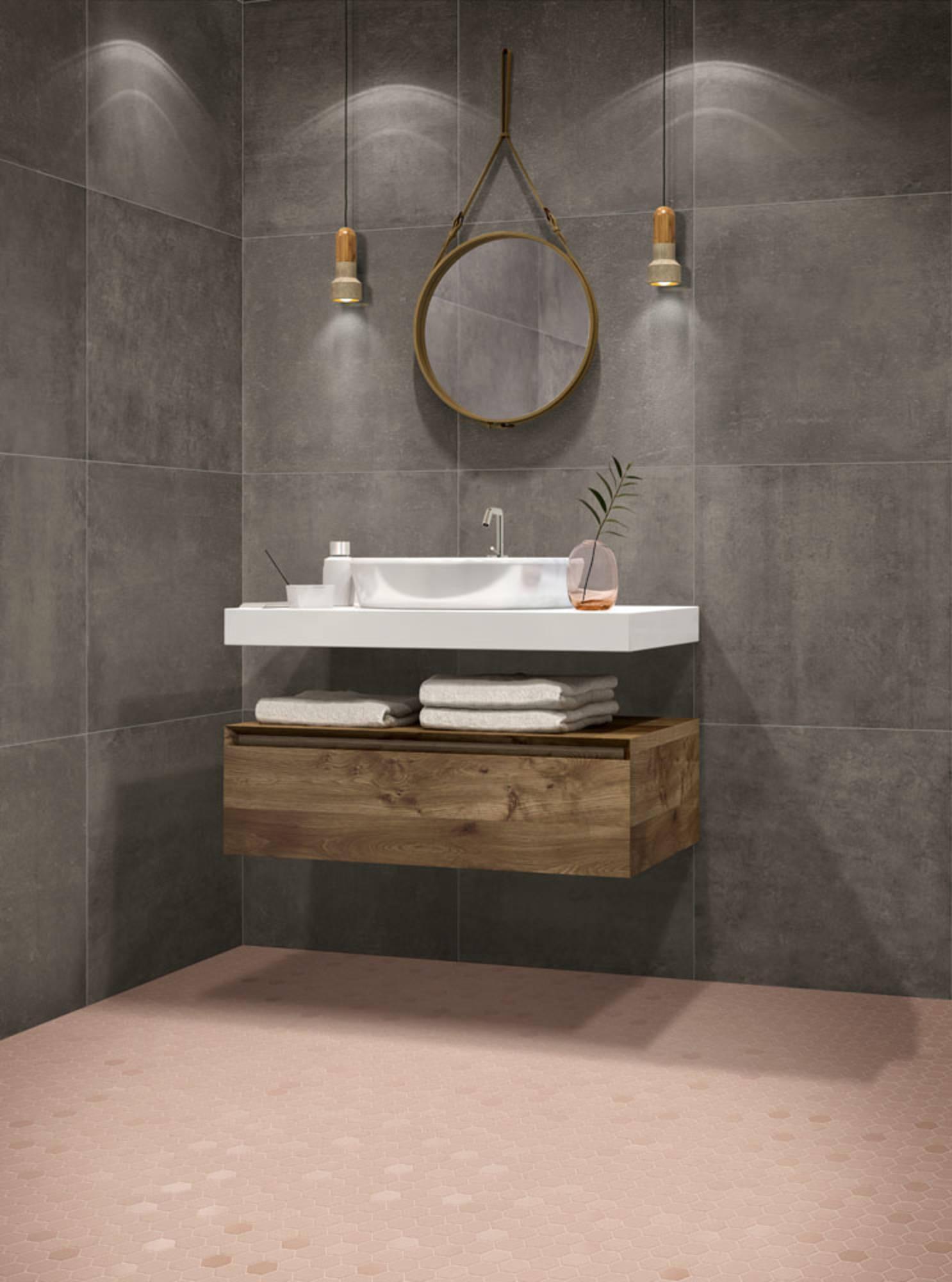 Mozaïek Terratinta Betonstil 31,6x31,6x0,4 cm Hexa Rosy Blush 10ST
