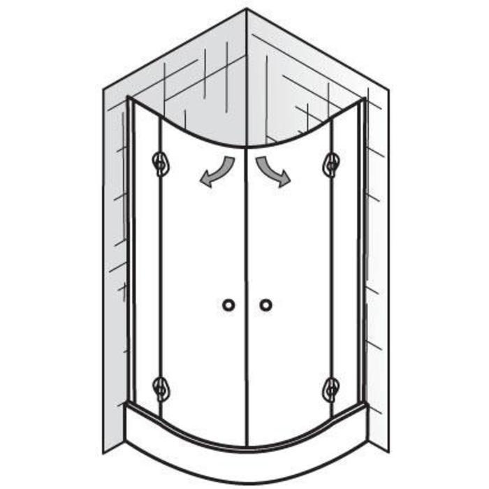 Ben Alfonso Douchecabine Kwartrond met draaideur 90x185cm Aluminium/Helder glas