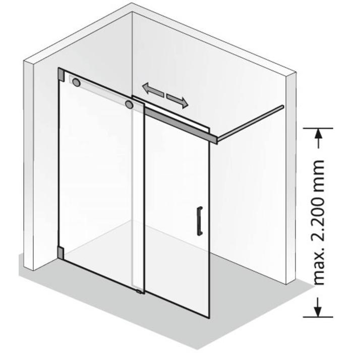 HSK Walk-in K2 Inloopdouche Schuifdeur op maat Chroom / Grijs Glas