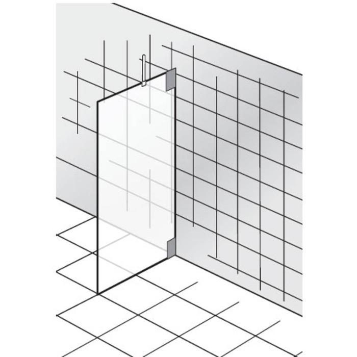 HSK K2 Zijwand voor douchewanden op maat Chroom / Grijs Glas