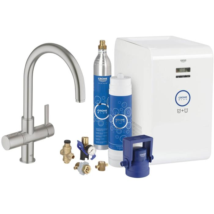 Grohe Grohe Blue chilled & sparkling c-uitloop starterkit supersteel