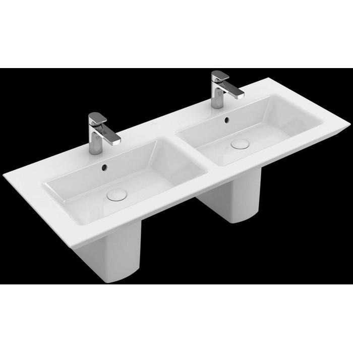 Villeroy & Boch Legato dubbele meubelwastafel 130x50 2 kraangat met overloop CeramicPlus wit