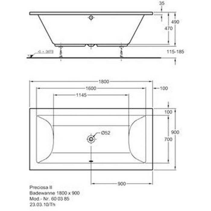 Keramag Design B12/Preciosa Ii bad 180 x 90 cm Wit